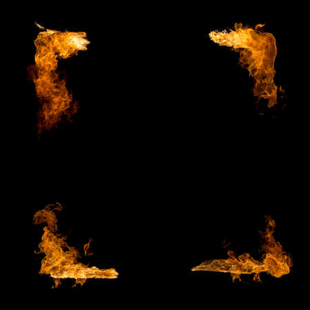 High resolution fire collection isolated on black background . Fire frame. Stock Photo