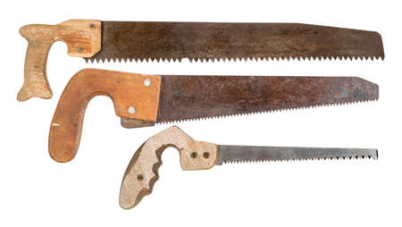 old saws on a tree isolated on white background