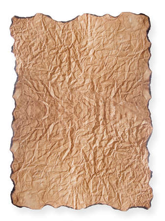 texture of crumpled brown paper with burnt edges isolated on white background Stock Photo
