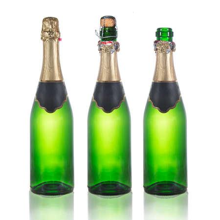 Set of champagne bottles  . Isolated on white background