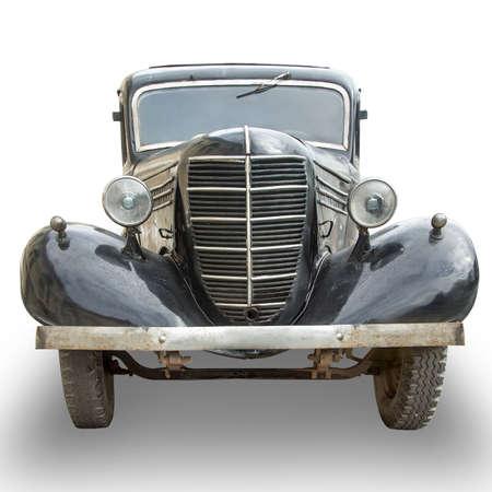 old black retro car isolated on white background