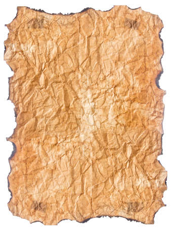 texture of crumpled  old paper with burnt edges isolated on white background Stock Photo