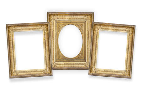 set of three gilded frames isolated on white background