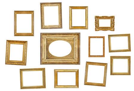 many gilded frames isolated on white background Stock Photo