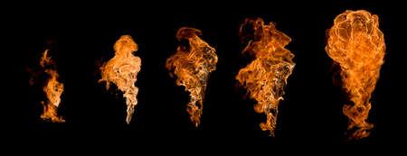 set fire isolated on black background Stock Photo