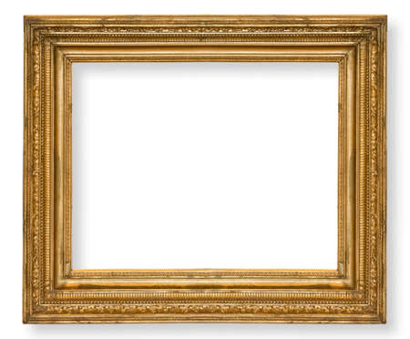 old ,gold frame isolated on white background