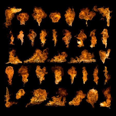 set of textures flames, fire, explosions, fireballs in high resolution isolated on a black background
