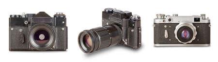 set old, vintage, retro camera  isolated on white background