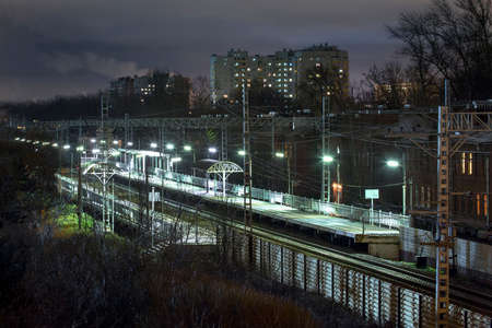 railway station, train station at night