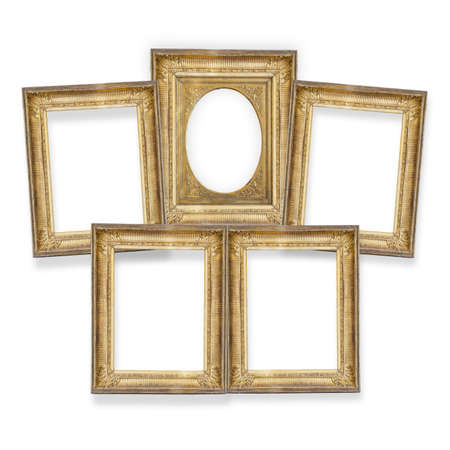 set of five gilded frames isolated on white background