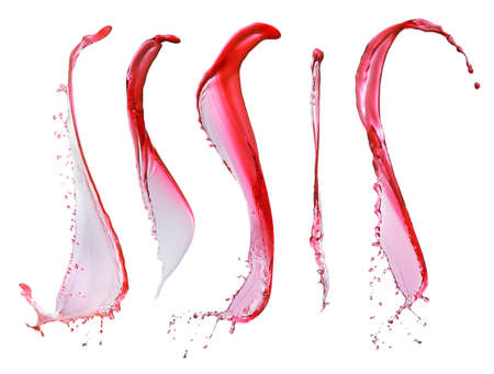 red wine splashes and drops isolated on white background