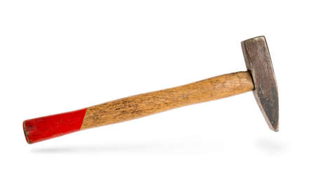 hammer with a wooden handle isolated on white background