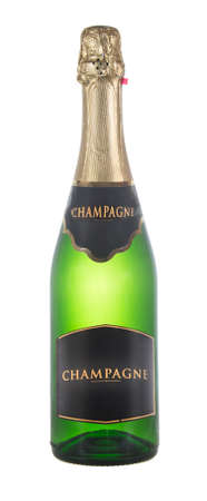 closed bottle of green glass of champagne isolated on white background