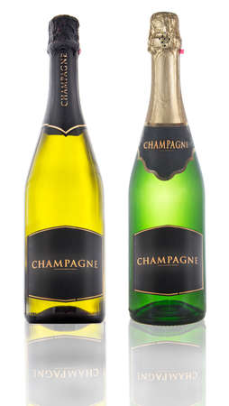 closed bottles of green glass of champagne isolated on white background Stock Photo