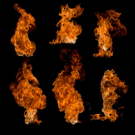 set fire, flame isolated on black background Stock Photo