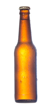 Misted over bottle beer of dark glass of  isolated on white background Stock Photo