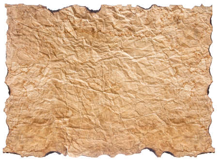 texture of crumpled old paper with burnt edges isolated  Stock Photo