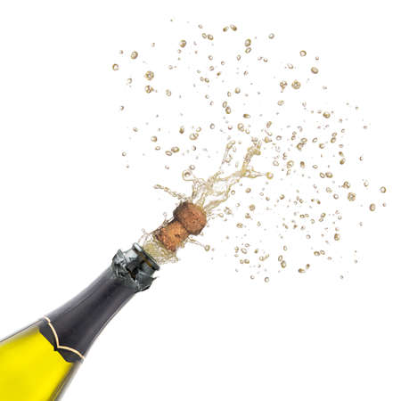 champagne bottle with popping corks . Isolated on white background