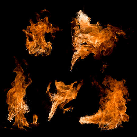 fire , flame isolated on black background