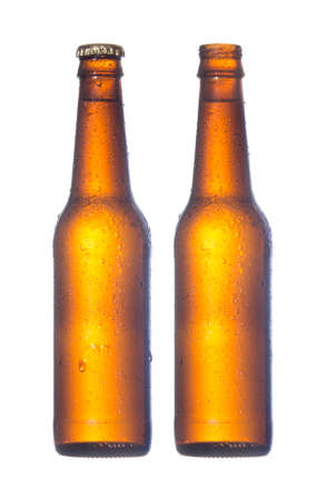 open and closed beer bottle isolated on white background Stock Photo