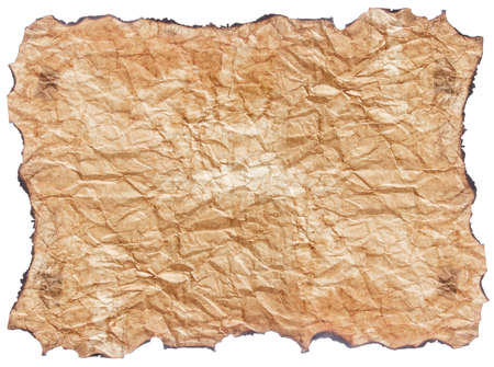 texture of crumpled  paper with burnt edges isolated on white background Stock Photo