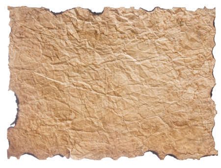 texture of crumpled old paper with burnt edges isolated on white