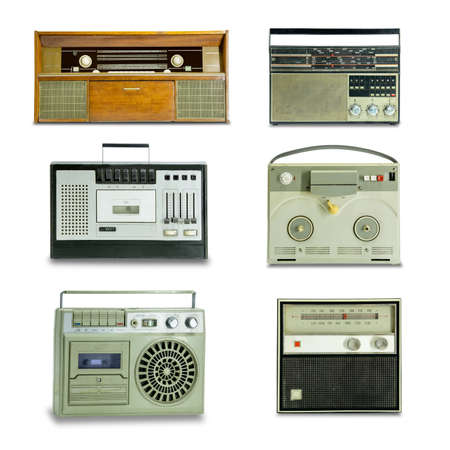 A few old radios on a white background. Isolated.