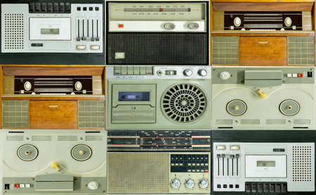Some old radios and tape players. Vintage.