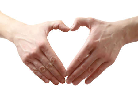 heart shape made of two hands. Isolated over white background photo