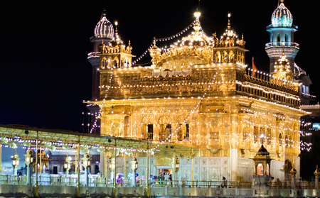 A midnight shot of World famous Golden Temple celebrating Gurupurab with lights in Amritsar, Punjab, India