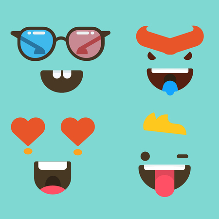 a set of facial expressions, laughing emoticon illustration on a plain background