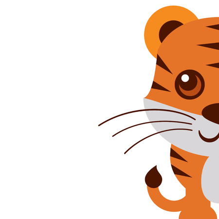 undomesticated: a close up illustration of a cute tiger cub on a plain background