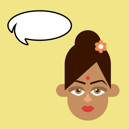 illustration of an Indian woman on a plain background