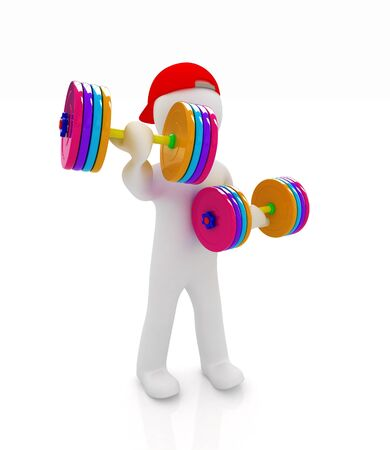 3d man with colorfull dumbbells  photo