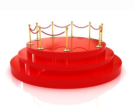 handrail: 3D glossy podium with gold handrail  Stock Photo