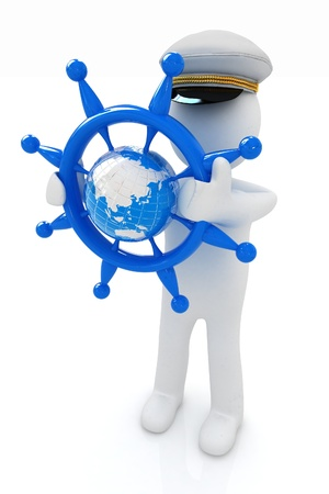 mariner: Sailor with steering wheel and earth  Trip around the world concept