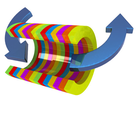 3d colorful abstract cut pipe and arrows on a white background photo
