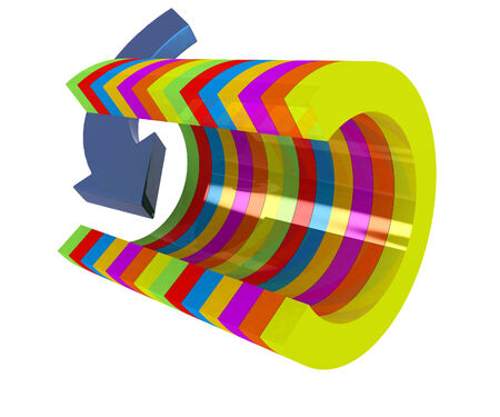 3d colorful abstract cut pipe and arrow on a white background photo
