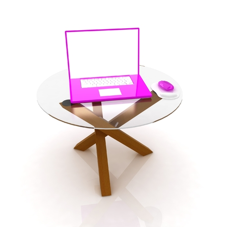 pink laptop on an exclusive table on a white background photo