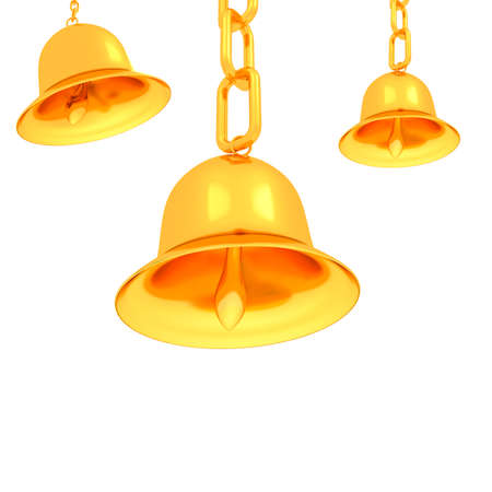 Gold bell on a white background photo