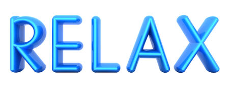Blue word Relax isolated on white background. 3d illustration Stock Photo
