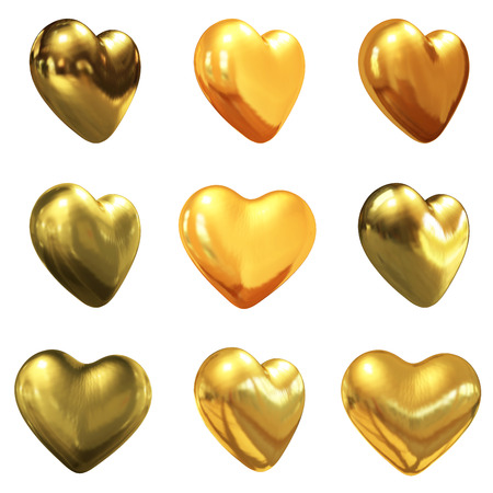 Gold hearts set for wedding design on a white background photo