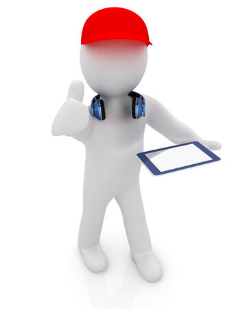 peaked cap: 3d white man in a red peaked cap with thumb up, tablet pc and headphones on a white background Stock Photo