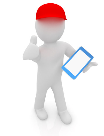 peaked cap: 3d white man in a red peaked cap with thumb up and tablet pc on a white background