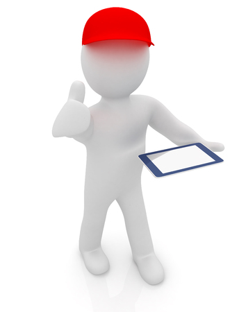 legs crossed: 3d white man in a red peaked cap with thumb up and tablet pc on a white background