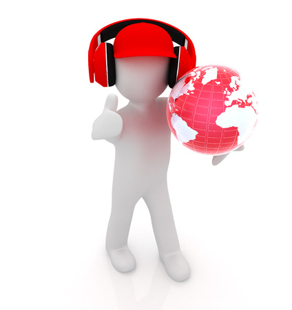 3d white man in a red peaked cap with thumb up, tablet pc and headphones. Global concept with blue earth  photo