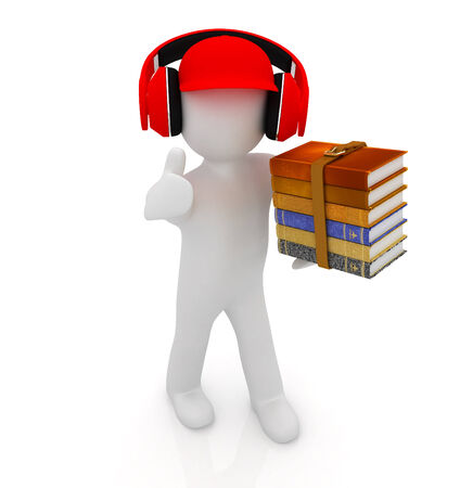 3d white man in a red peaked cap with thumb up, books and headphones on a white background photo