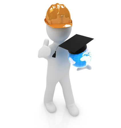 3d man in a hard hat with thumb up presents the best global technical education on a white background photo
