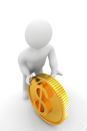 financier: 3d small man with gold dollar coin on a white background