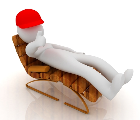 3d white man lying wooden chair with thumb up on white background